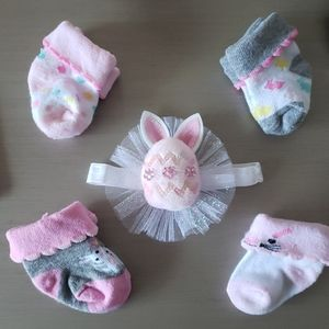 Easter Baby Girl 5 pc. Bow and Sock Assortment